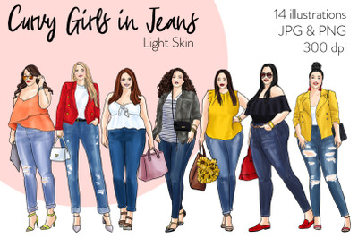 Watercolor Fashion Clipart - Curvy Girls in Jeans - Light Skin