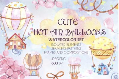 Cute hot air balloons watercolor set