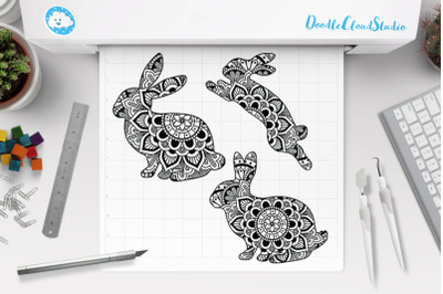 Rabbit Mandala SVG Cut Files, Rabbit Mandala Clipart