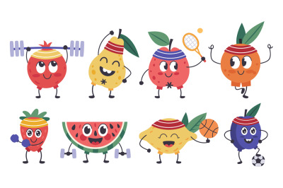 Fruit fitness characters. Doodle fruit mascots do sports, funny apple,