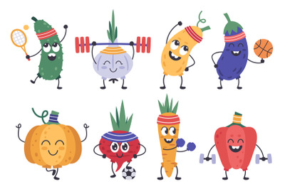 Vegetables fitness. Funny doodle veggies in exercises and meditation p