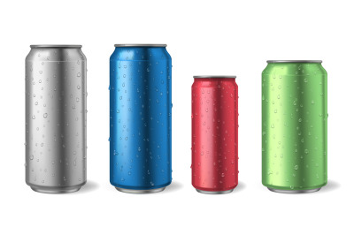 Aluminium cans with water drops. Realistic metal can mockups for soda,