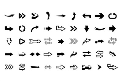 Graphic arrows. Modern interface graphic icons, arrowhead collection a