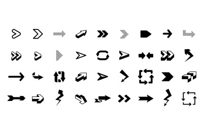 Set of arrows. Interface graphic icons, arrowhead direction pointers i