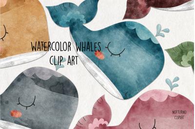 Watercolor Whale Clip Art