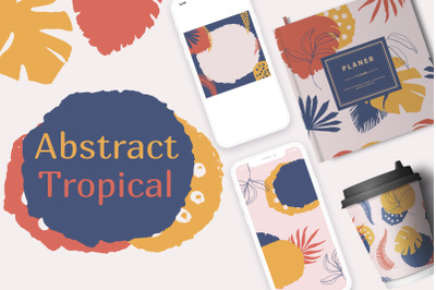 Abstract tropical. Hand drawn modern exotic illustrations.