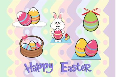 Easter Bunny Egg Illustration  Character Bundle