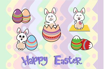 Easter Bunny Egg Vector Art 5  Bundle