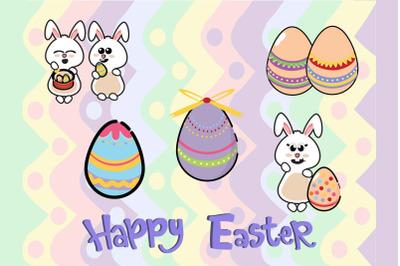Easter Bunny Egg Vector Illustration 5  Bundle