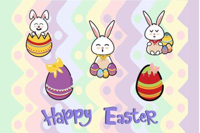 Easter Bunny Egg Vector Art Bundle