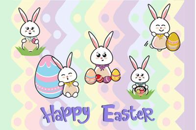 Easter Bunny Egg Vector Illustration  Bundle