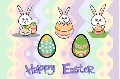 Easter Cute Bunny Egg 5 Bundle