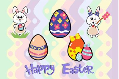 Easter Bunny Egg Art Illustration