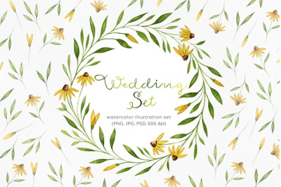 Floral wedding illustration set. Yellow flowers illustration