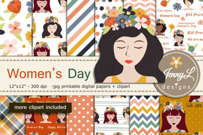 Women's Digital Papers and Clipart