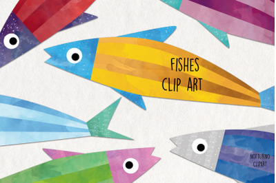 Colorful Fish clipart, instant download. Set of 6 fishes.