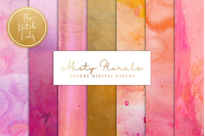 Misty Floral Digital Backgrounds & Scrapbook Papers