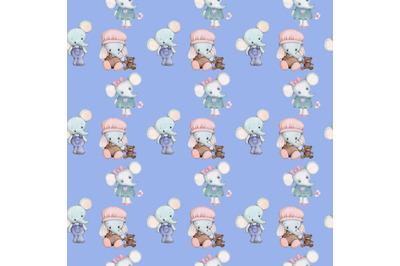 Seamless pattern with little elephants.