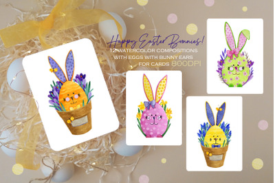Happy easter bunnies on a background of spring flowers
