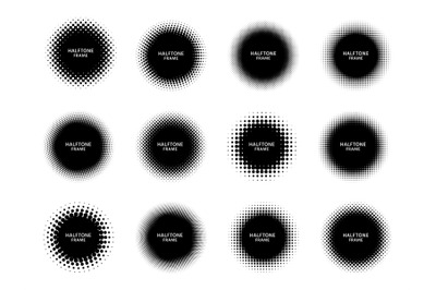 Round halftone shape frames. Black circles with dotted texture&2C; dots g