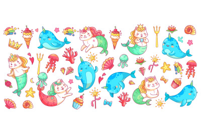 Unicorn narwhal and mermaid cat. Vector illustration set