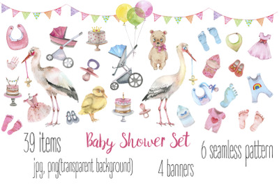 Baby Shower watercolor set