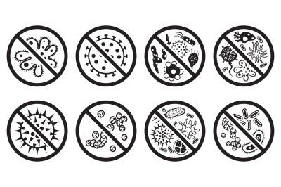 Antiviral and antibacterial icon. Vector icons set