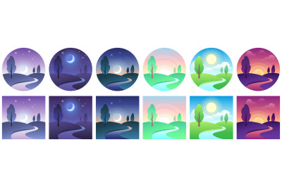 Landscape time icons. Sky and field daytime circle and square icon vec