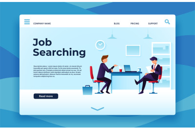 Job searching landing page. We are hiring, interview preparation vecto
