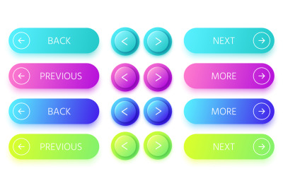 Gradient buttons. Next and back button&2C; colorful prev and more buttons