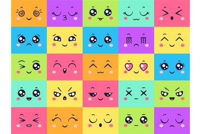 Cute colored faces collection, emoticon emotion set