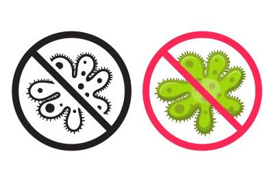 Antibacterial icon. Vector icons set, ban virus