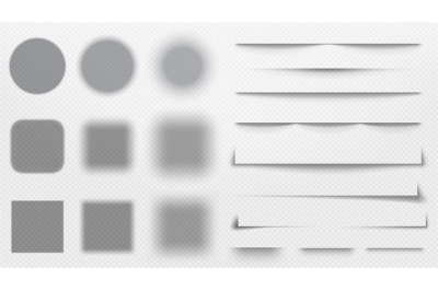 Realistic shadows dividers. Line shadow, transparent overlay template