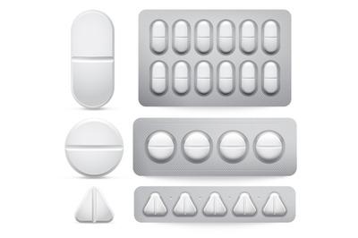 Medicine pills. Vector illustration set, tablets in pack