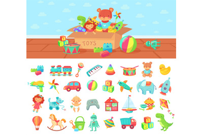Cartoon toys. Vector set of kids play, block and doll