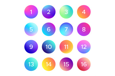 Colorful gradient with number. Vector set of shape