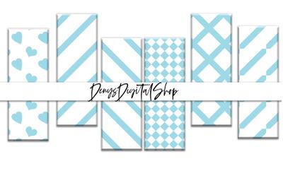 Digital Blue Stripes, Printable Stripes Bookmarks