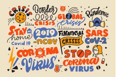 Coronavirus lettering phrases