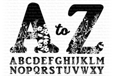 Floral Alphabet SVG  Cut Files, Floral Alphabet Clipart.