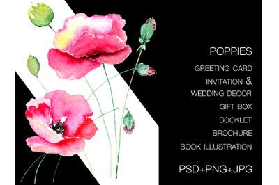 Poppy flower design for future cards, invitation and wedding decor