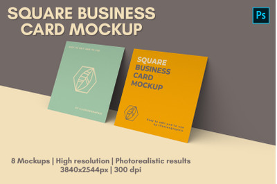 Square Business Card Mock-up - 8 views