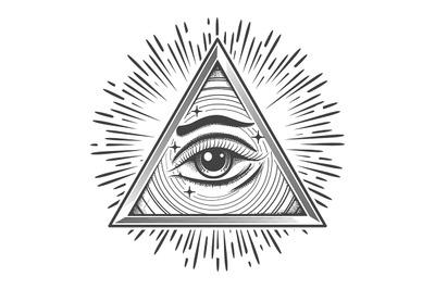 All seeing Eye in Triangle Freemasonry Symbol Engraving illustration