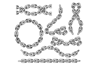 Anchor Chains set in engraving Style