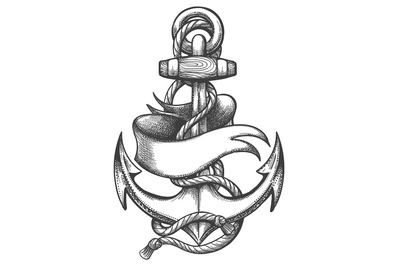 Ship Anchor and Ribbon Old School Tattoo