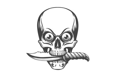 Skull with Eyes and Knife in the Teeth