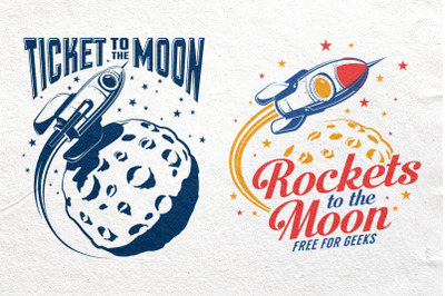Space Rocket And Moon Set