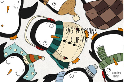 SVG Penguins Clipart; for scrapbooking and card making. Christmas embe
