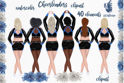 Cheerleaders Clipart Watercolor Girls Clipart Sport clipart
