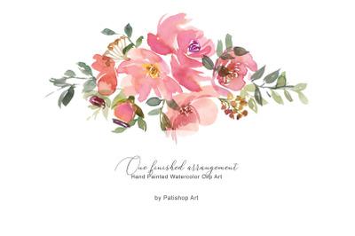 Watercolor Blush Floral Clip Art One Arrangement