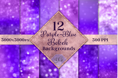 Purple-Blue Bokeh Backgrounds - 12 Image Textures Set